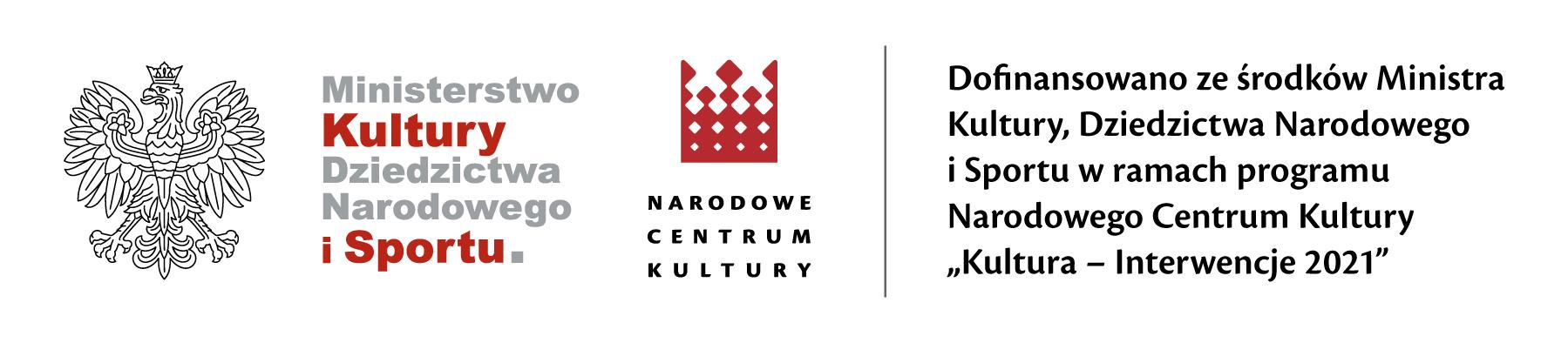 Logo Ministerstwa Kultury i Dziedzictwa Narodowego oraz logo - Narodowe Centrum Kultury.