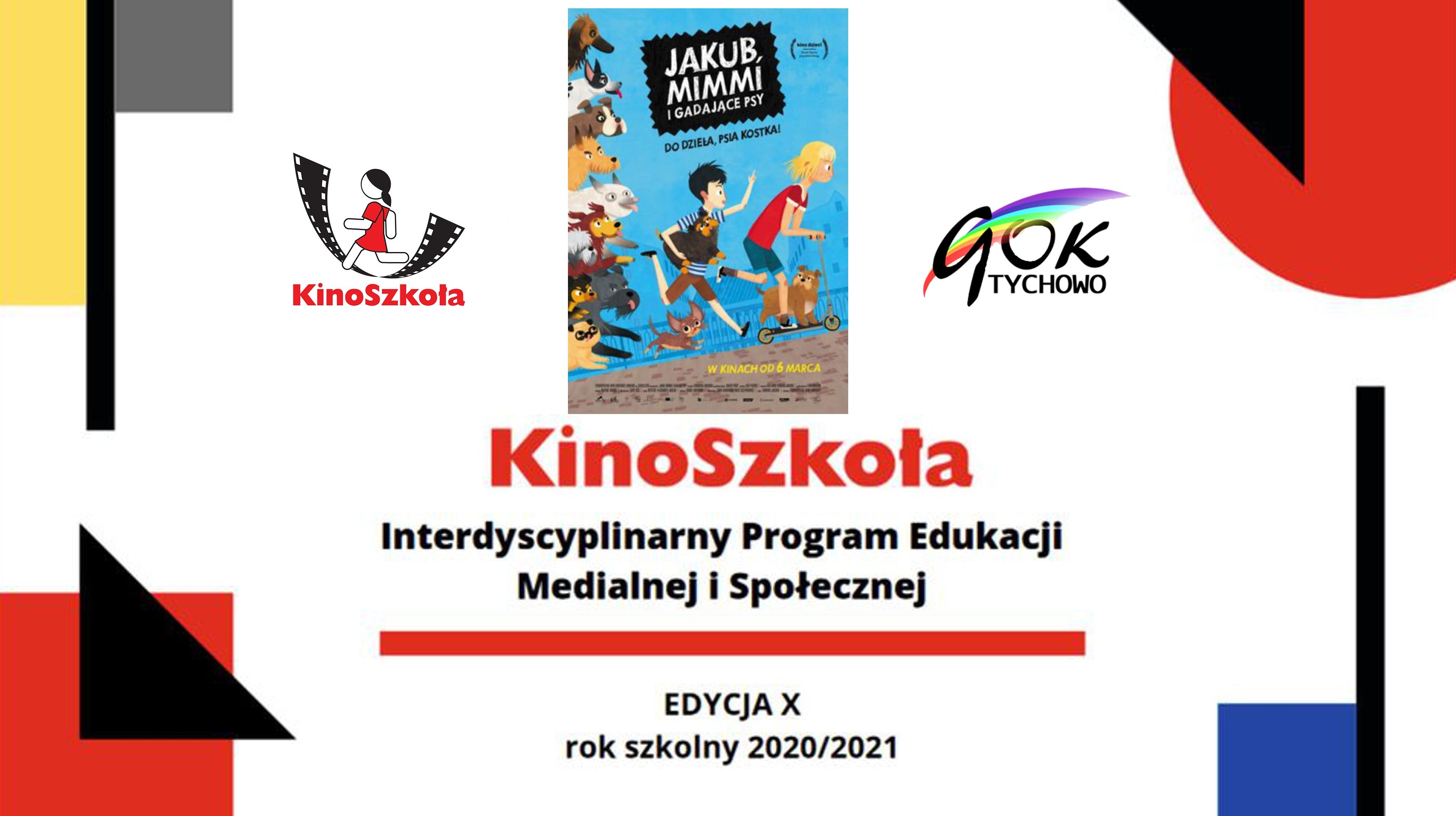 Na zdjęciu logo KinoSzkoła i Gminnego Ośrodka Kultury w Tychowie. Edukacja medialna .