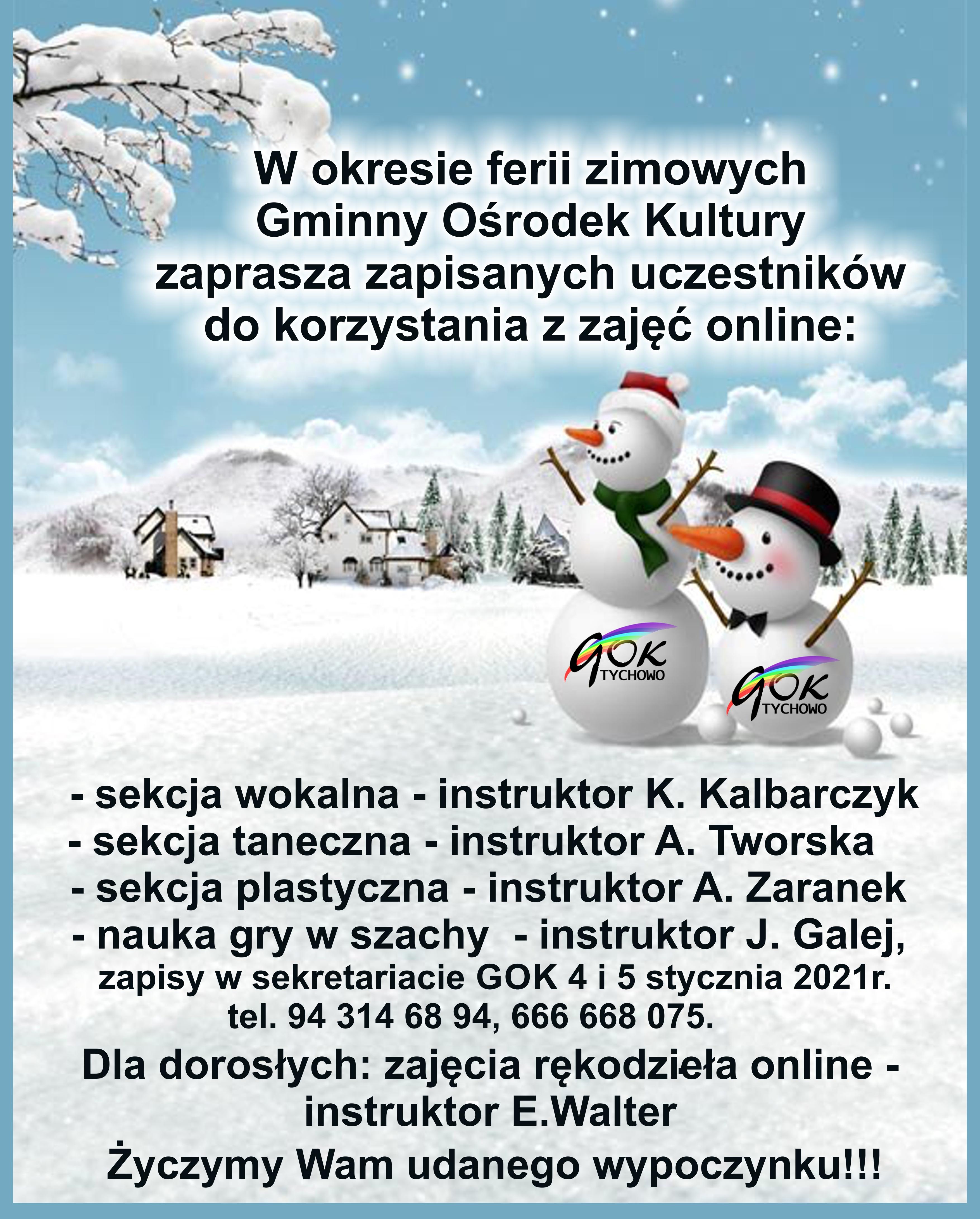 Plakat zapraszający do korzystania z zajęć online w okresie ferii zimowych.