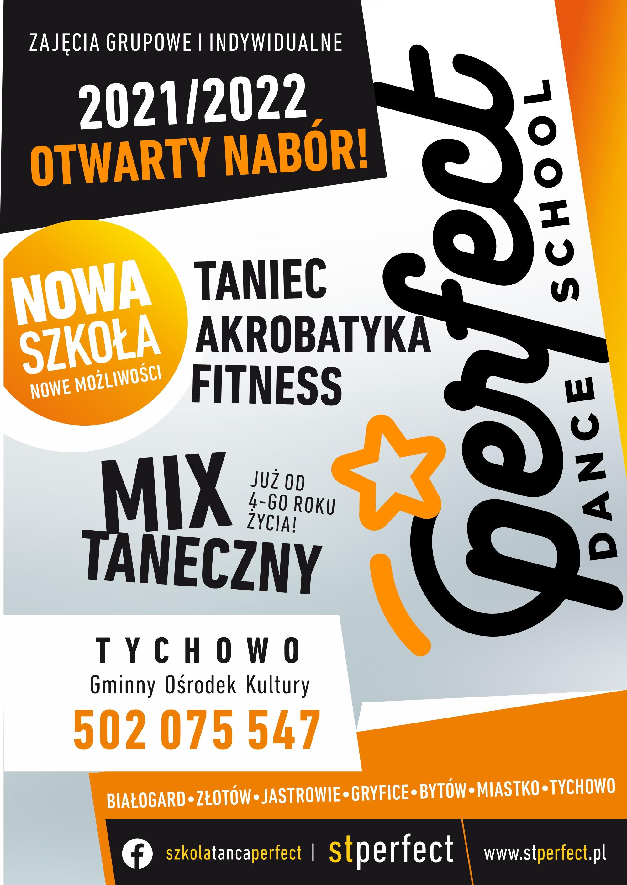 Plakat zapraszający do zapisu na zajęcia do szkoły tańca Perfect z Koszalina. Zapisy pod numerem telefonu  502 075 547